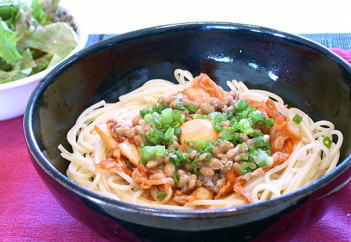 納豆キムチパスタ