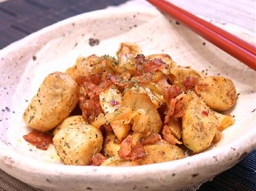 里芋とベーコンのキムチ炒めレシピ