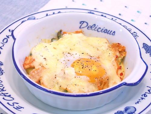 アスパラとキムチのチーズ目玉焼きレシピ