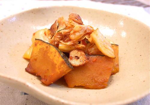 かぼちゃのキムチ炒めレシピ