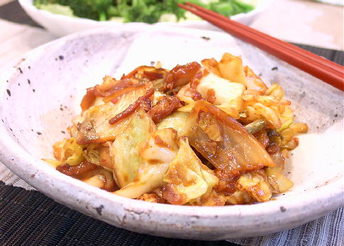 キャベツのキムチ味噌炒めレシピ