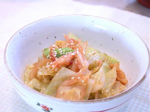 キャベツの白菜キムチ和えレシピ
