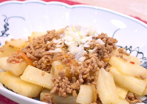 大根とひき肉の麻婆風炒めレシピ