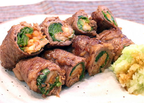 にらとキムチの牛肉巻きレシピ