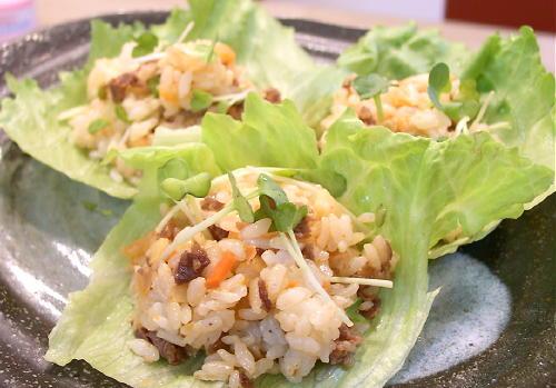牛肉とキムチのサラダご飯レシピ