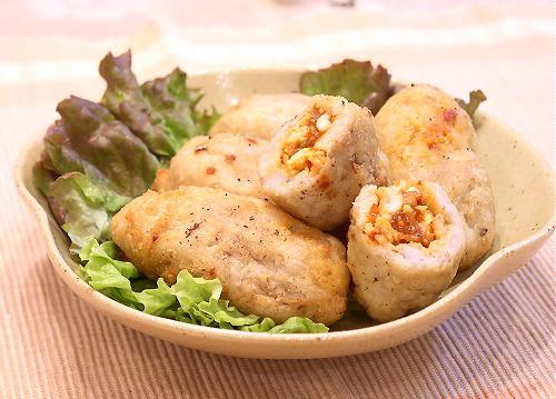 里芋のピリ辛ひき肉包み揚げレシピ