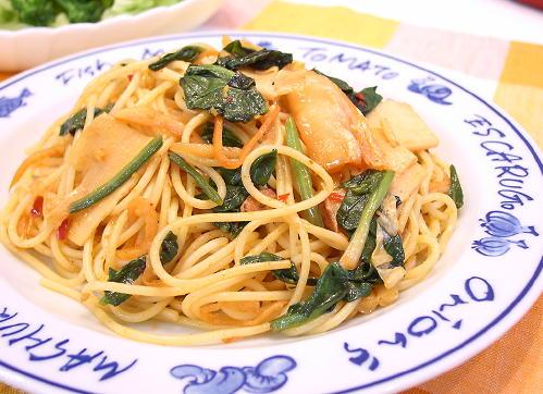 ほうれんそうと竹の子キムチスパゲティレシピ