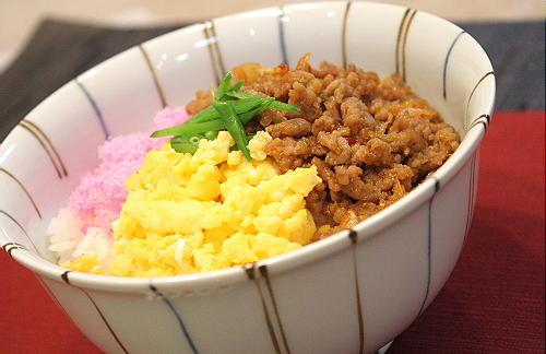 キムチそぼろの三食丼レシピ