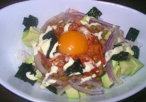 キムチ納豆アボカド丼レシピ