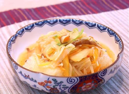 キムチあんかけの揚げだし豆腐レシピ