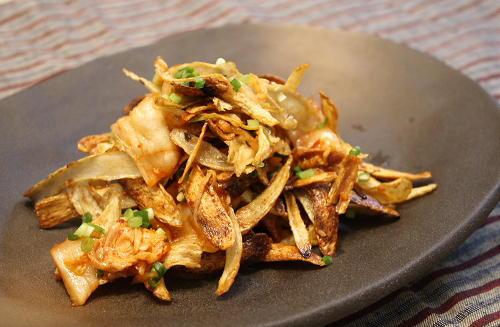 今日のキムチ料理レシピ:揚げごぼうとキムチ和えもの