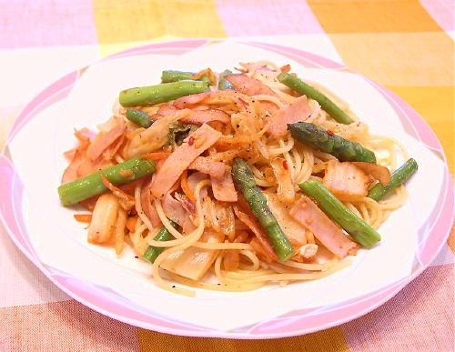 アスパラとキムチのスパゲティレシピ