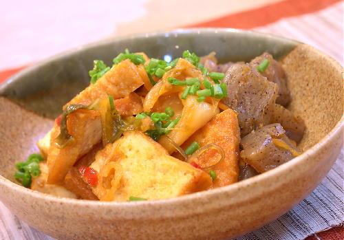 厚揚げとこんにゃくのキムチ炒め煮レシピ