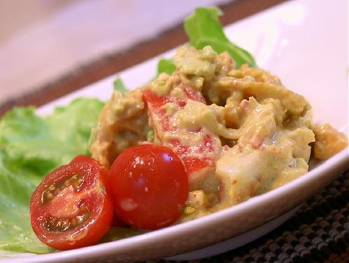 カニカマと割干しキムチのアボカドソース和えレシピ