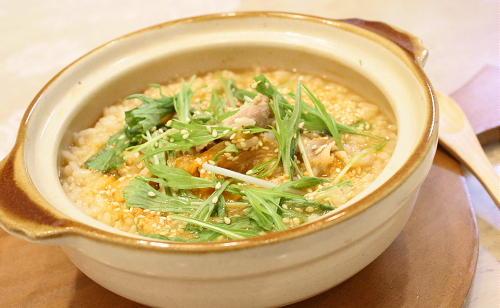 今日のキムチ料理レシピ:さっぱり豚キムチ雑炊