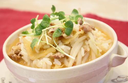 今日のキムチ料理レシピ:豚肉ともやしのキムチ雑炊