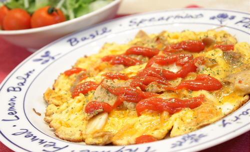 今日のキムチ料理レシピ:豚キムチオープンオムレツ