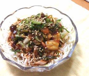 今日のキムチ料理レシピ:キムチとツナの素麺