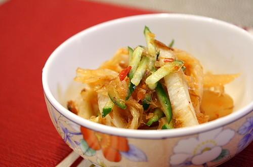 竹輪とキムチの甘酢和えレシピ