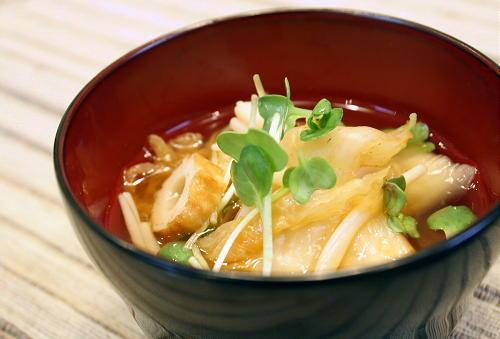 今日のキムチ料理レシピ:竹輪とキムチの簡単お吸い物