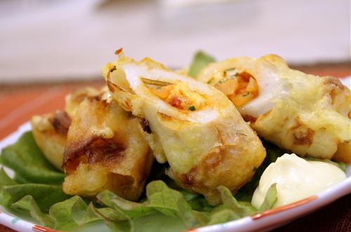 割干しキムチとチーズ入り竹輪の天ぷらレシピ