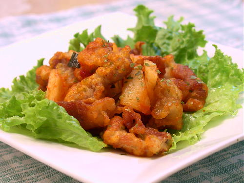 大根キムチと豚肉の変わり揚げレシピ