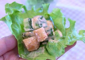 大根キムチときゅうりのレタス巻きサラダレシピ