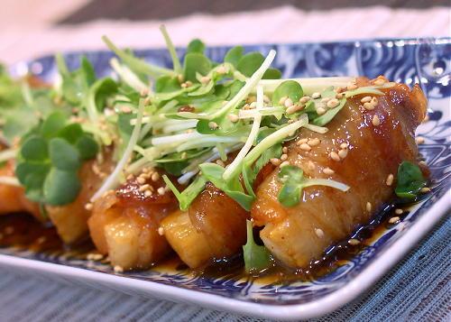 大根キムチの豚肉巻きの照り焼きレシピ