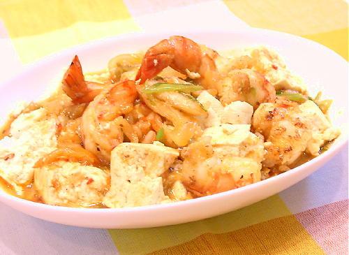 豆腐とえびのキムチ炒めレシピ