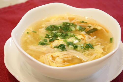 エノキとキムチのとろり卵スープレシピ