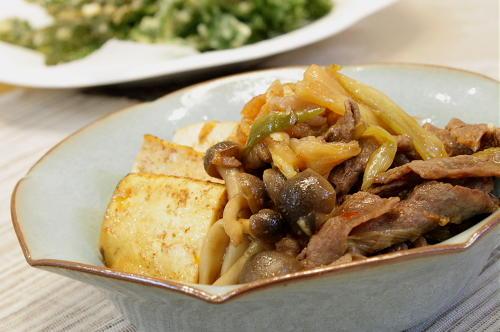 すき焼き風牛肉と焼き豆腐の甘辛煮レシピ