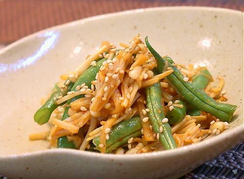 インゲンとえのきのキムチ炒めレシピ