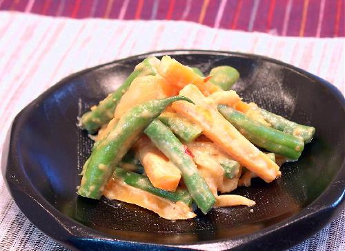 いんげんの味噌マヨキムチ和えレシピ