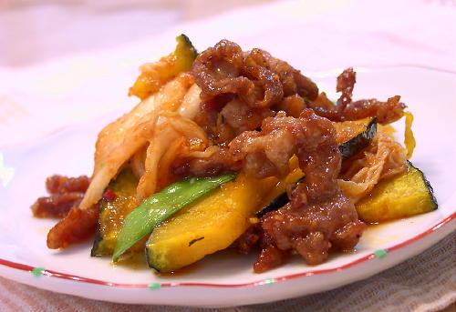 かぼちゃと豚肉とキムチの甘酢和えレシピ