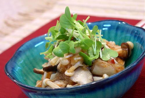 きのことキムチとおろし大根のポン酢和えレシピ