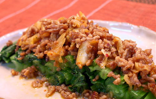 小松菜のキムチひき肉あんかけレシピ
