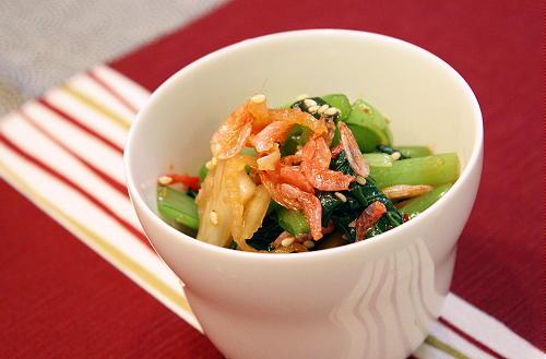小松菜と干しえびのキムチ和えレシピ