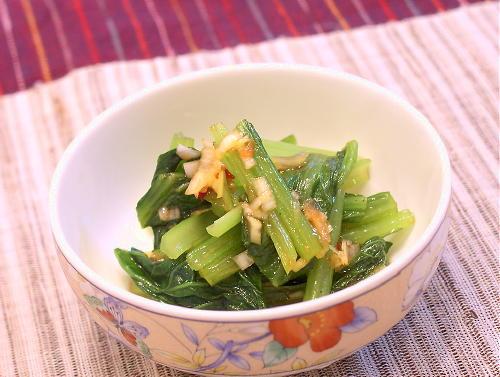 小松菜のほんのりピリ辛ねぎ油がけレシピ