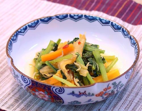 小松菜とニンジンのキムチ煮レシピ