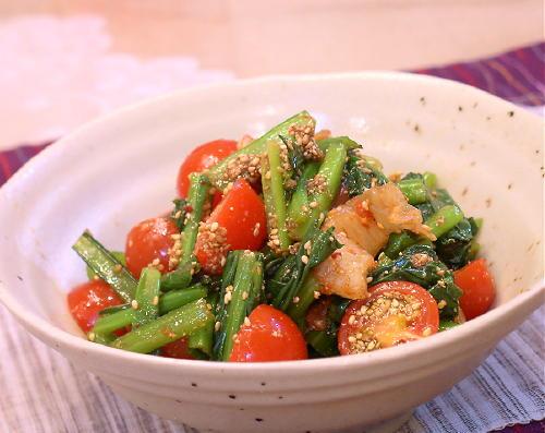 小松菜とキムチのごま和え