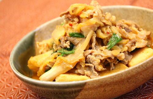 高野豆腐の味噌キムチ煮レシピ