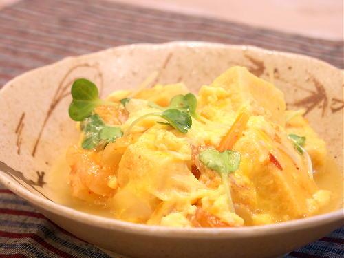 高野豆腐とキムチの卵とじレシピ