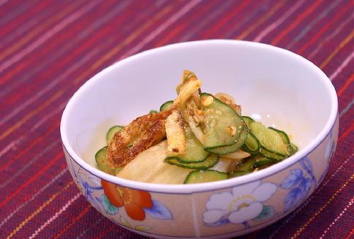 きゅうりと油揚げとキムチの胡麻和えレシピ