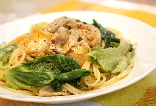 レタスとキムチのスープパスタレレシピ