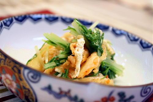 水菜と油揚げのキムチ和えレシピ