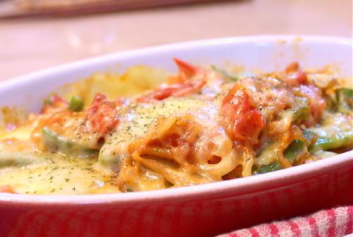 モロッコいんげんとトマトのキムチチーズ焼きレシピ