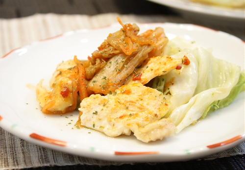今日のキムチ料理レシピ:鶏肉とキムチのレンジ蒸し