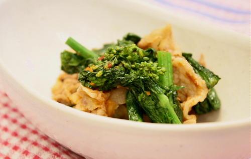 菜の花のキムチ炒めレシピ
