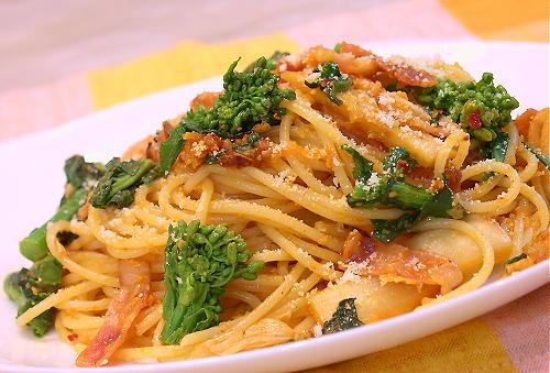 菜の花入りクリームキムチスパゲティレシピ