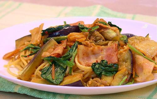 茄子とベーコンのキムチスパゲティレシピ